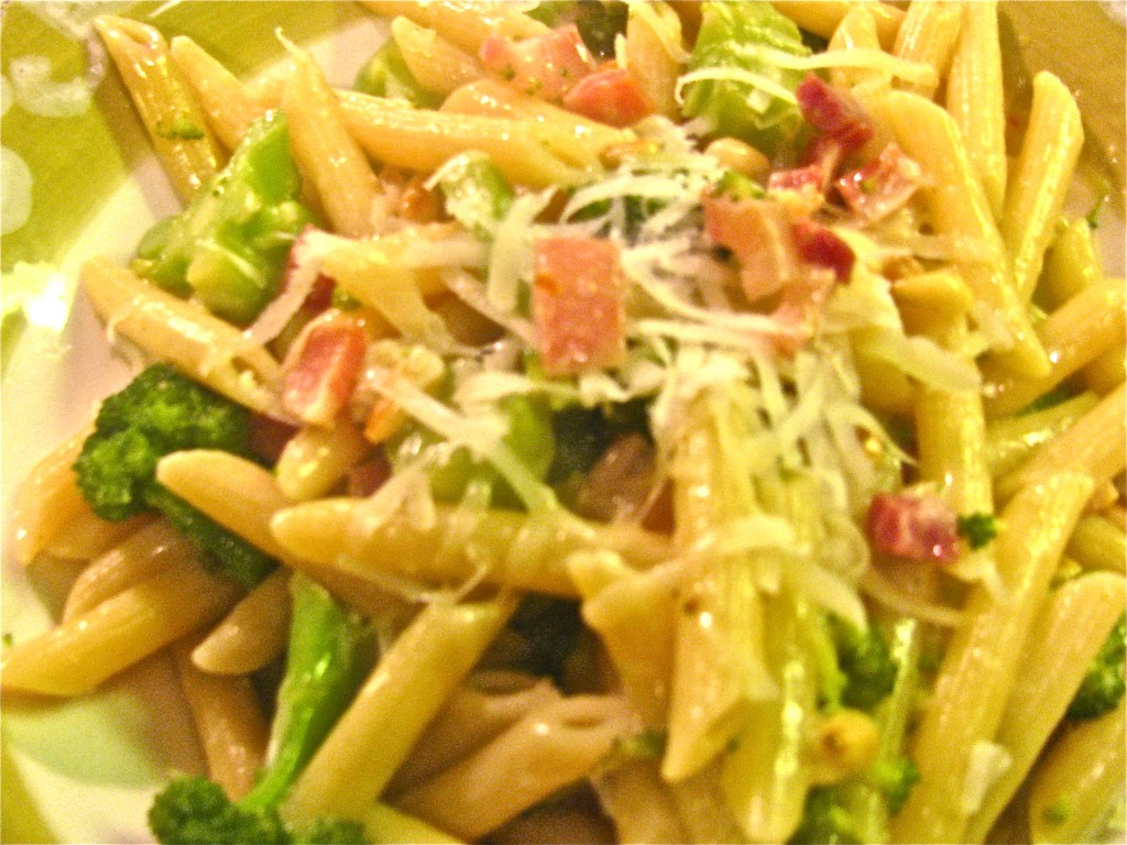 Pasta with Pancetta, Pine Nuts, Parmesan and Broccoli