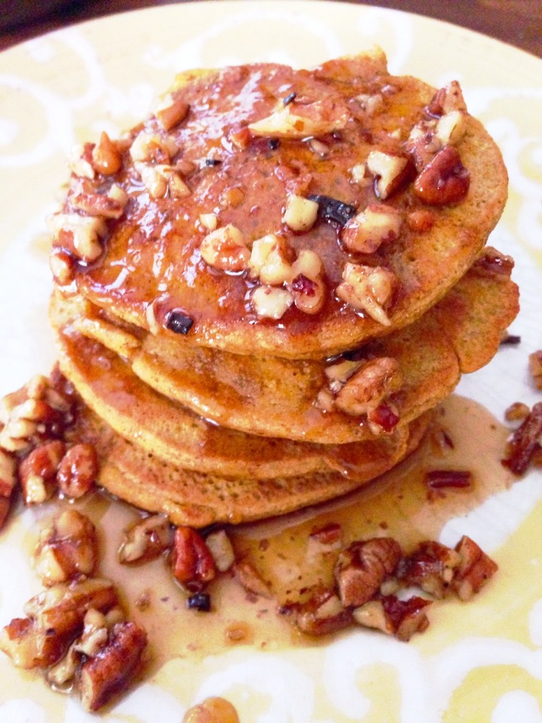 Gluten Free Pumpkin Pancakes & Butter Pecan Syrup