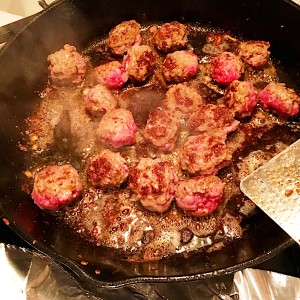Browning the meatballs for Swedish Meatballs with Creamy Gravy