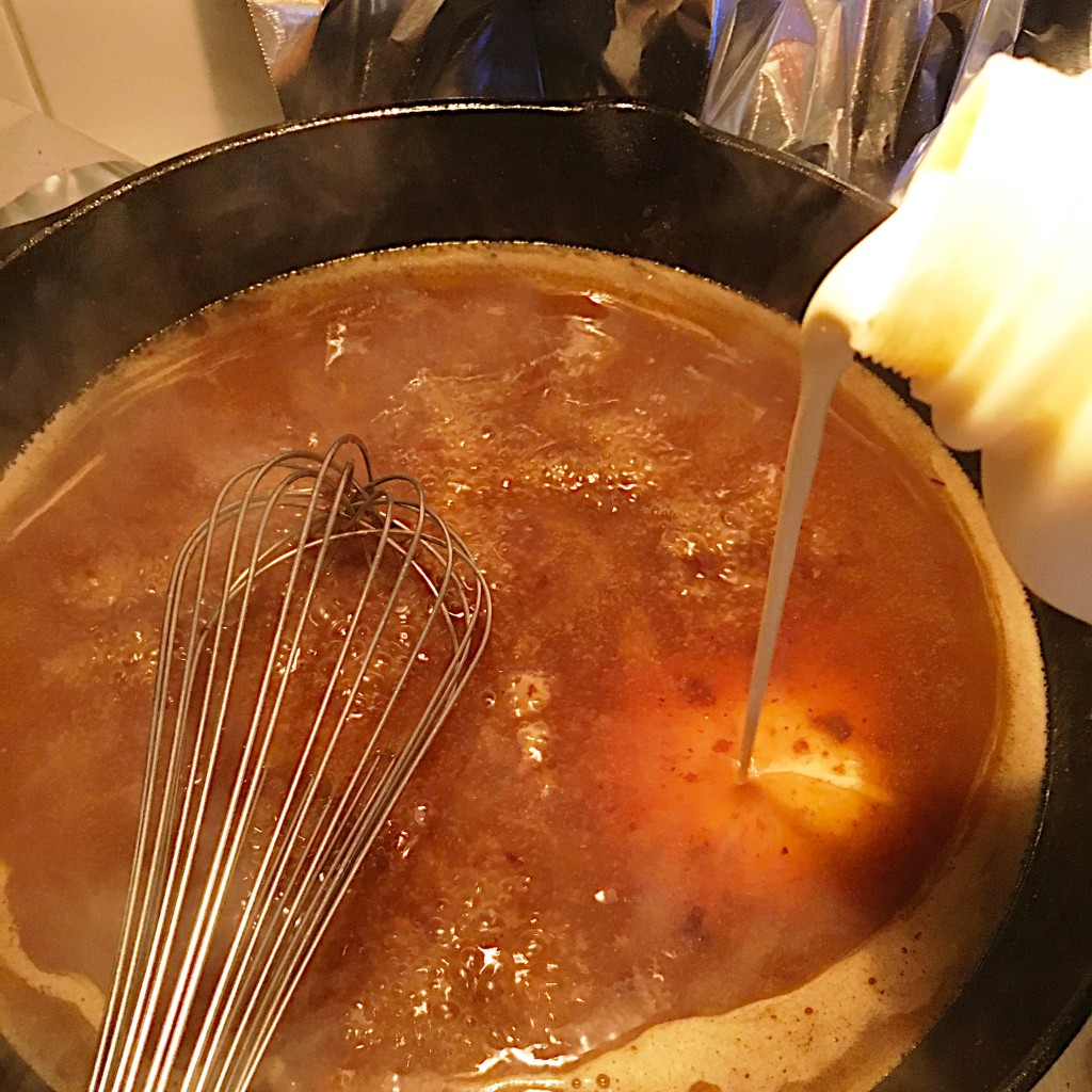 Making the gravy.