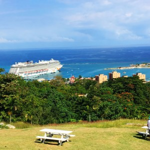 The beautiful Caribbean from a hilltop in Ocho Rios, Jamaica!