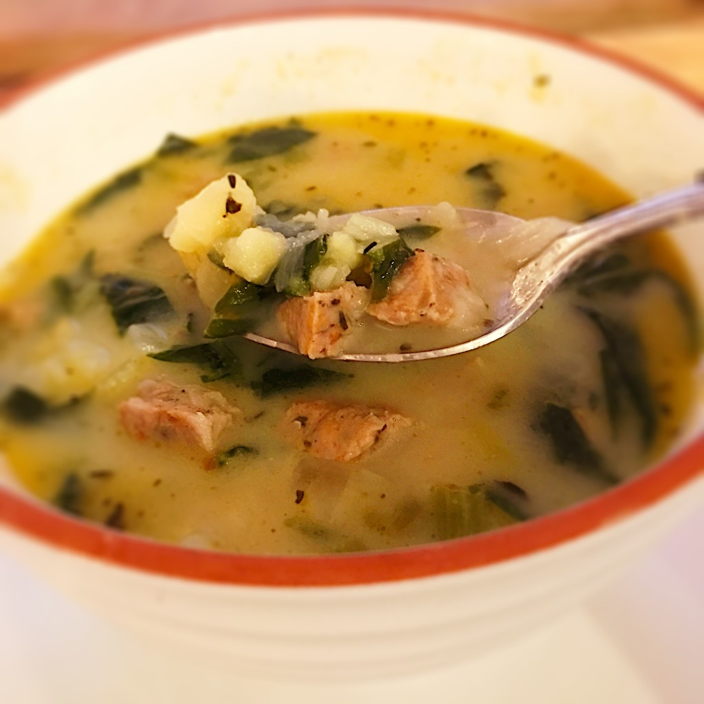Savory sausage, warm potatoes and spinach in a lovely, light broth!
