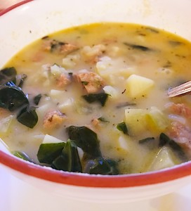Potato and Spinach Soup with Sausage