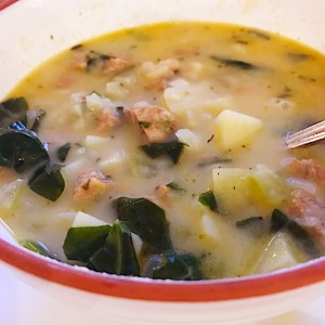 Potato Spinach Soup with Sausage